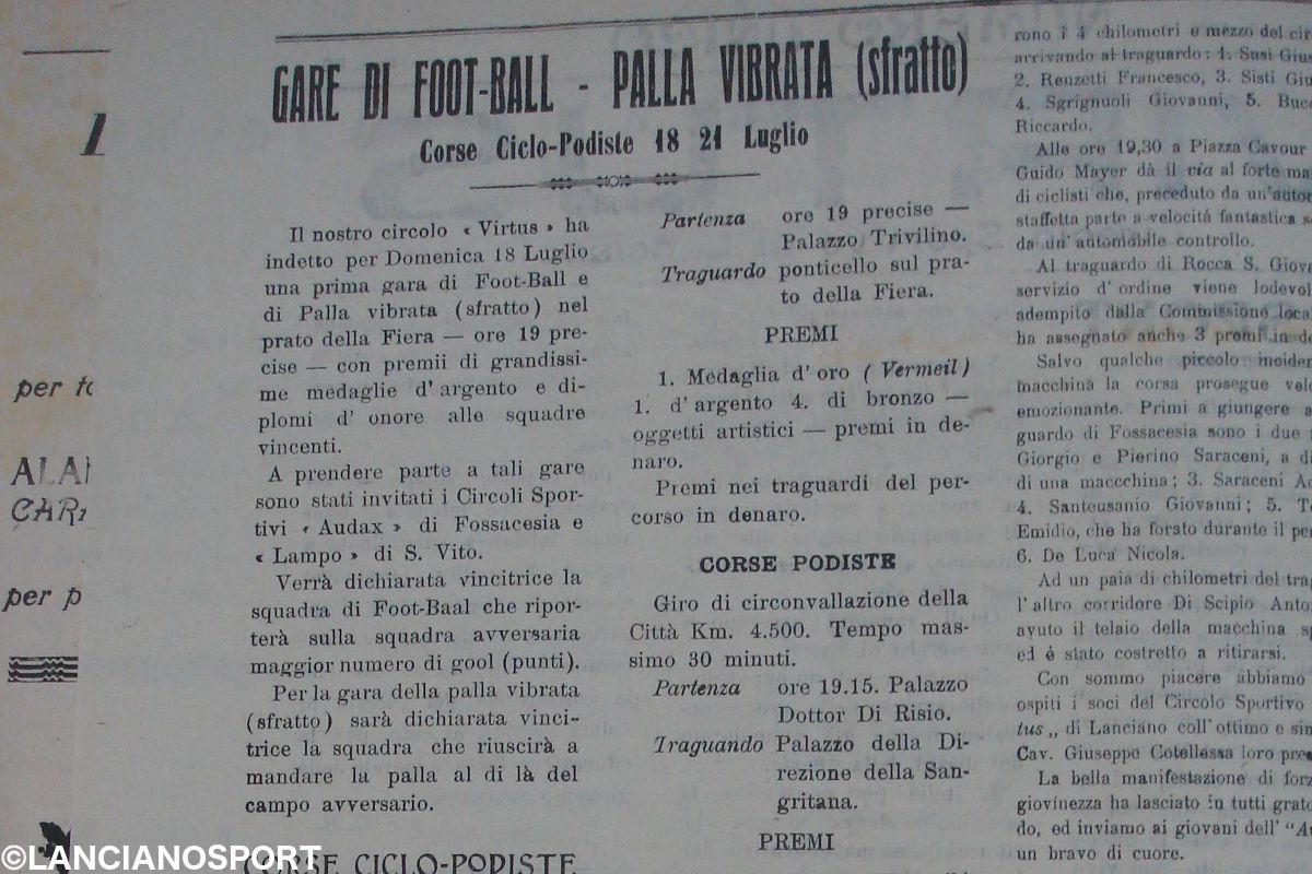 Virtus-Lampo, la prima sfida tra Lanciano e San Vito nel 1920