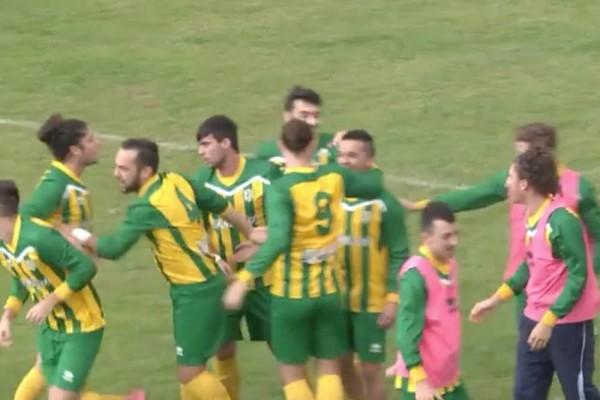 L'ortonese Dragani festeggiato dopo il gol del vantaggio