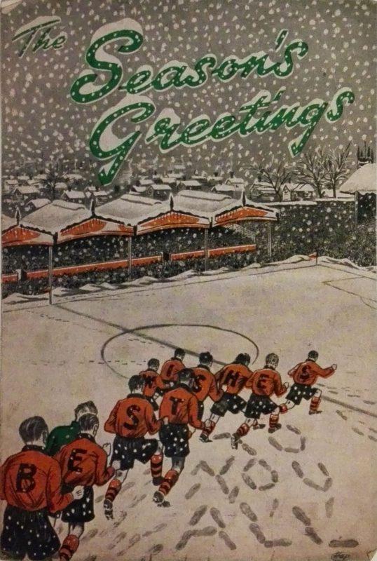 Gli auguri di Natale su un vecchio programma del Wolverhampton Wanderes: l'immagine è ripresa dal libro «Match Day. Post-war to Premiership football programmes» di Bob Stanley & Paul Kelly