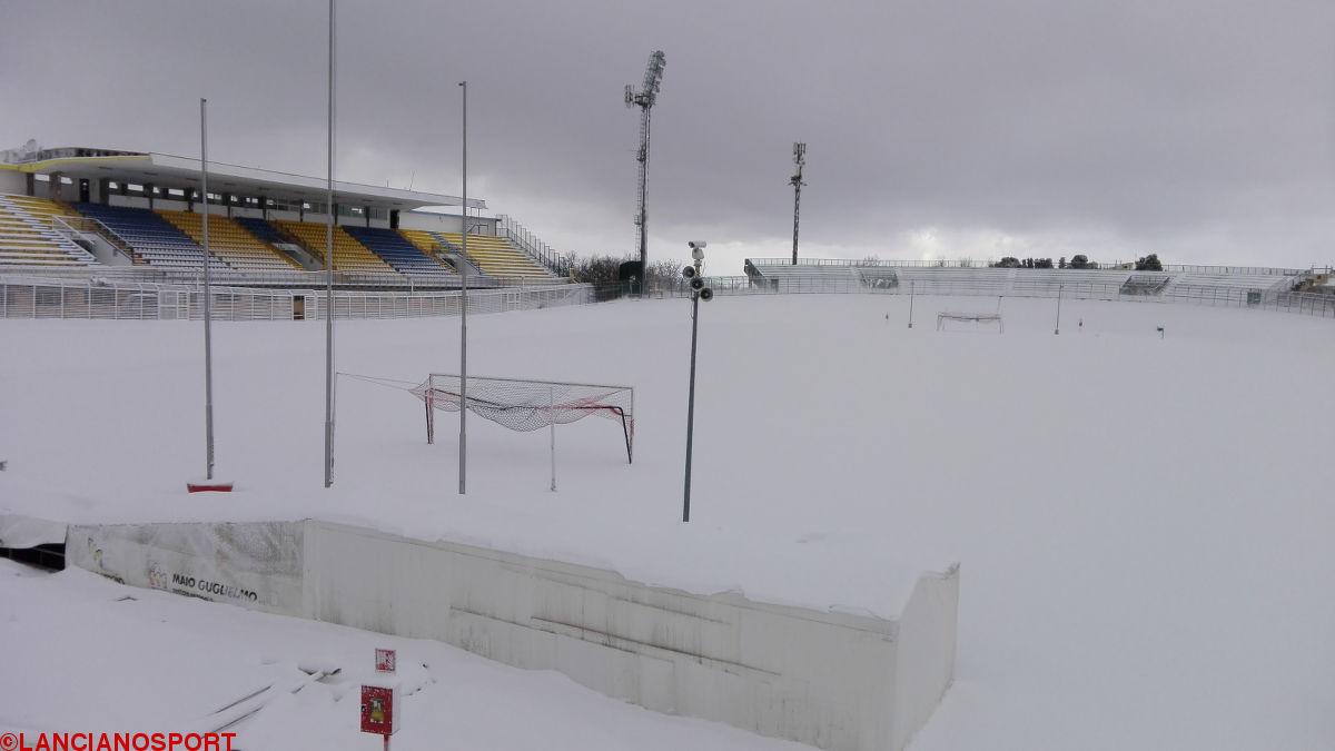 L'emergenza maltempo blocca il calcio abruzzese: niente partite fino a lunedì 23 gennaio